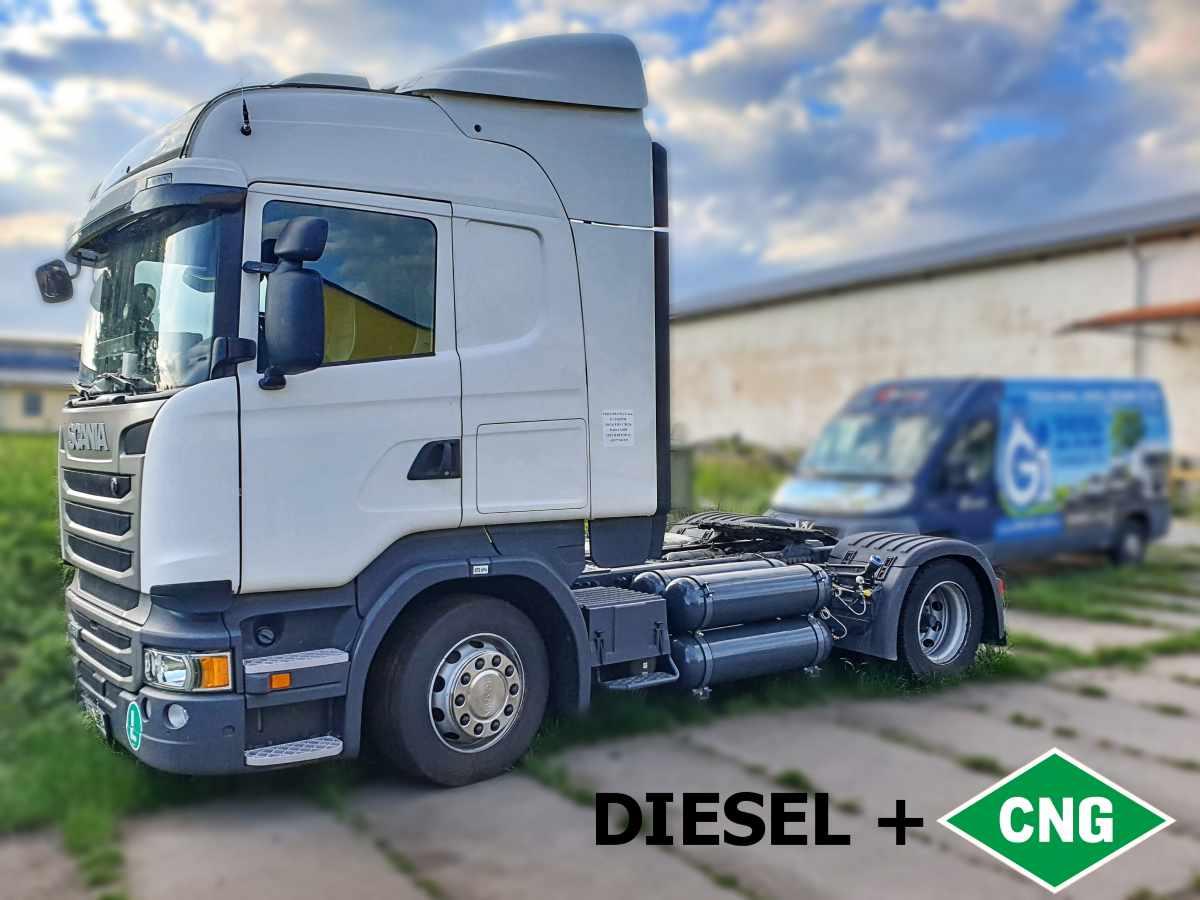 Diesel-CNG přestavba Scanie R450 Euro 6 na duální pohon NM+CNG