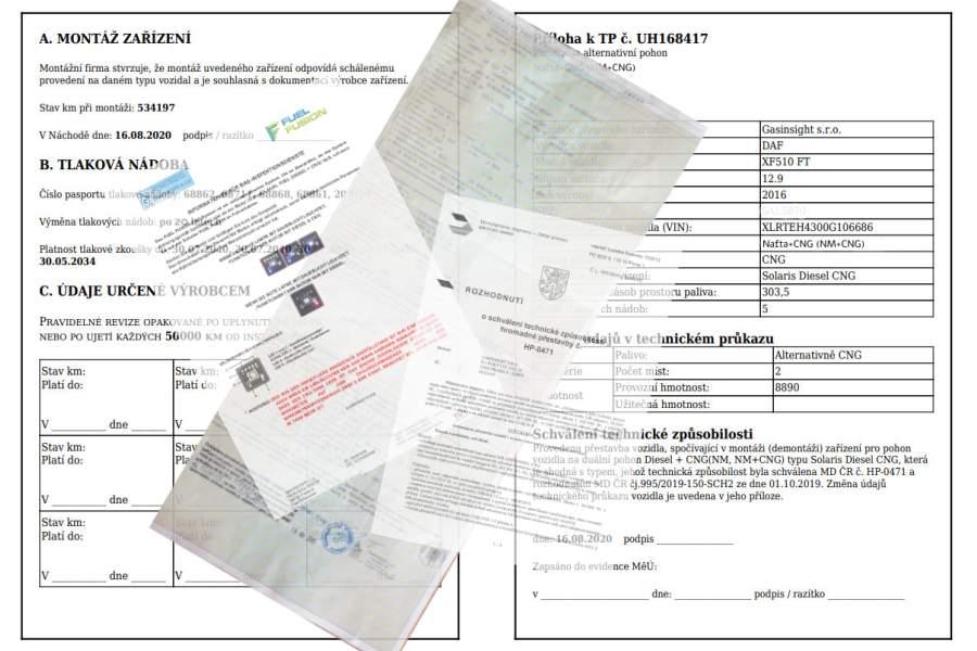 DIESEL CNG dokumentace pro Toll Collect pro osvobození od mýta