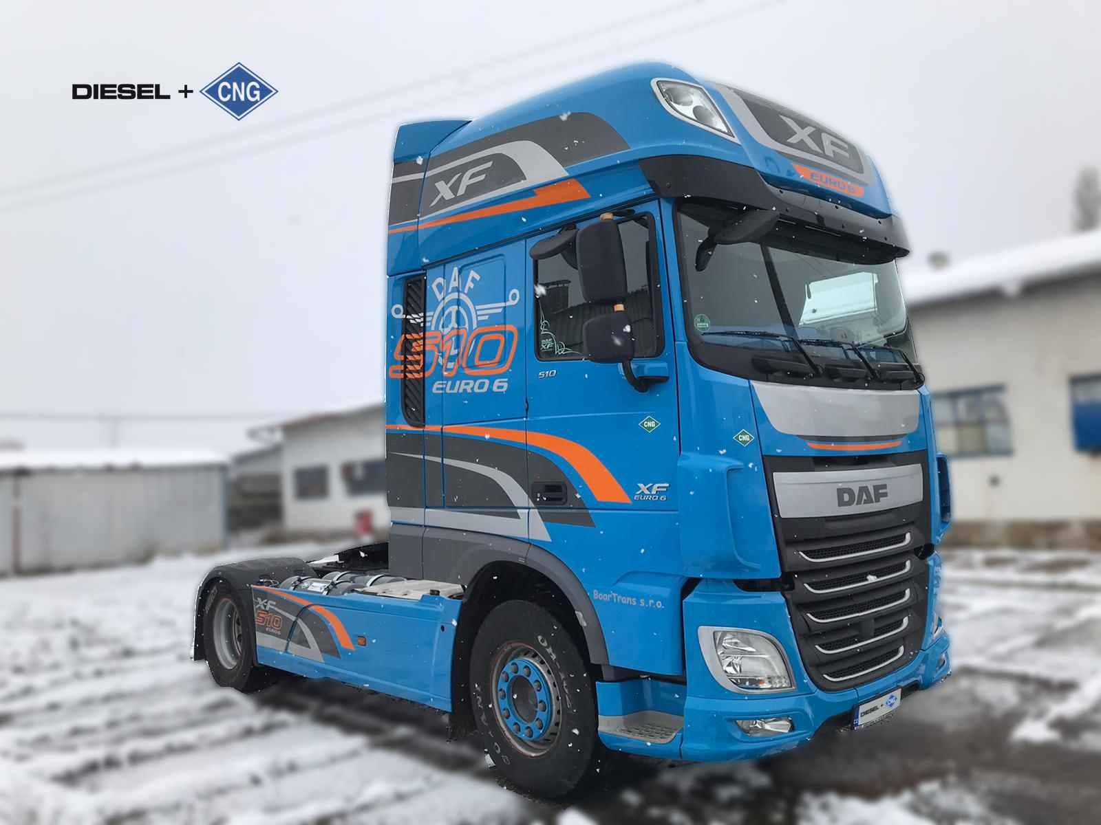 DAF XF 106 Diesel CNG s duálním systémem Fuel Fusion